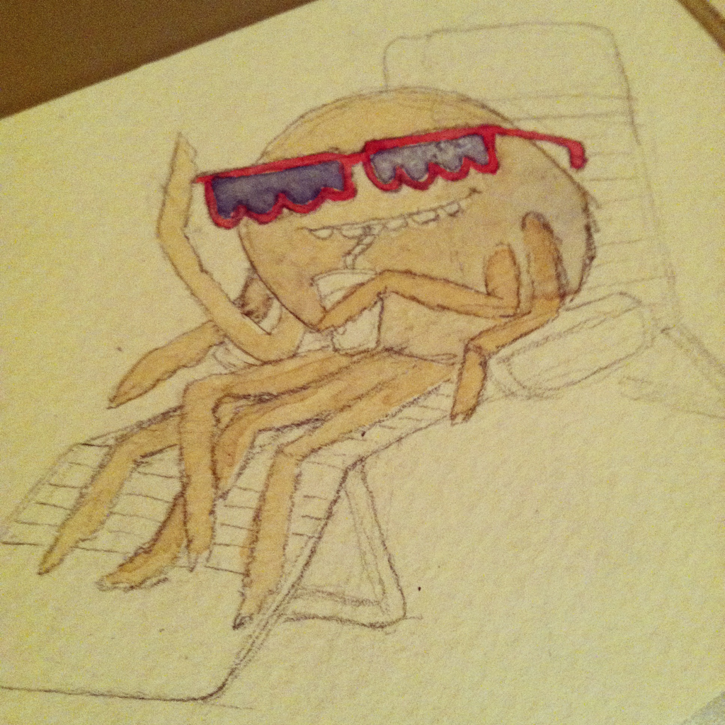Not done yet, but wanted to post. Illustration Friday topic: shades