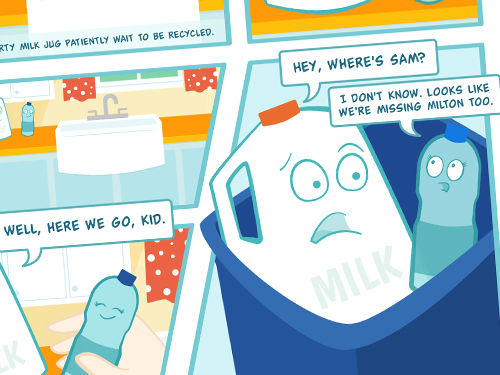Johnson and Johnson Bathroom Recycling Comic