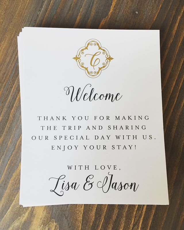 #goldfoil #monogram #welcometags for Welcome Baskets created for out-of-town guests! #thoughtfulbride #durhamregionweddings #weddingstationery #anythingispossible