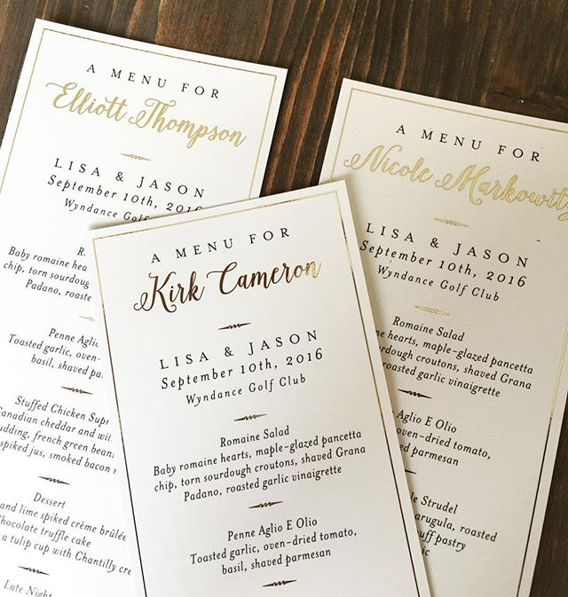 #personalizedmenus in #goldfoil so fab!!! #weddingstationery #durhamregionweddings