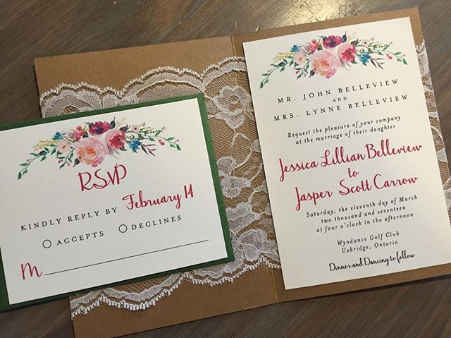 Adorable lace pocket on the inside of this lovely invite! #rusticwedding #lacewedding #eventplanner #stationerydesigner #durhamregioninvitations #weddinginvitations #durhamregionweddings