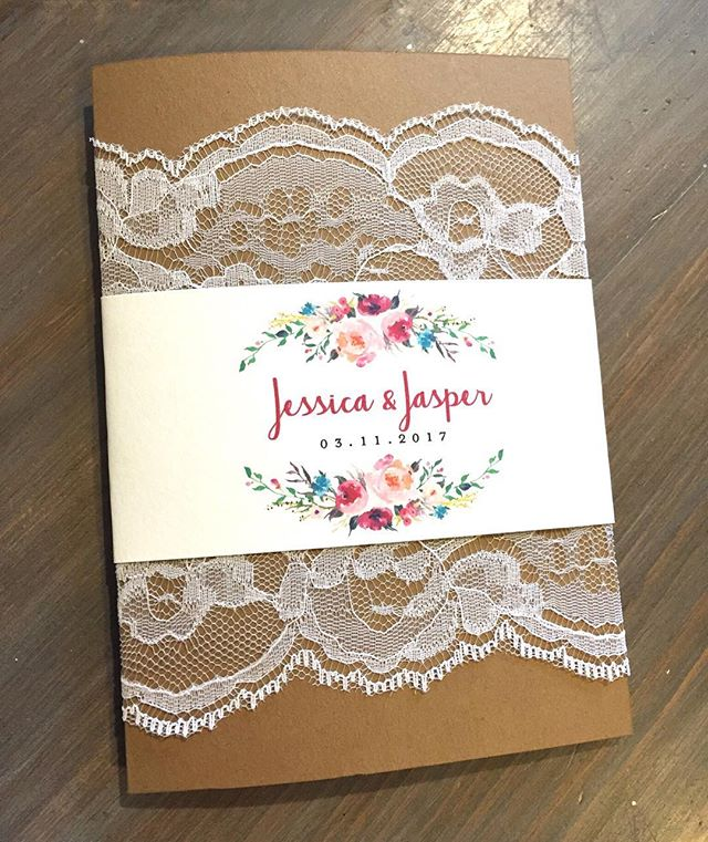 Rustic and so pretty!! Lace embellished folded Invite with an adorable lace pocket on the inside 😍🌺 #weddinginvitations  #durhamregionweddings #durhamregioninvitations #stationerydesigner #eventplanner #lacewedding #rusticwedding