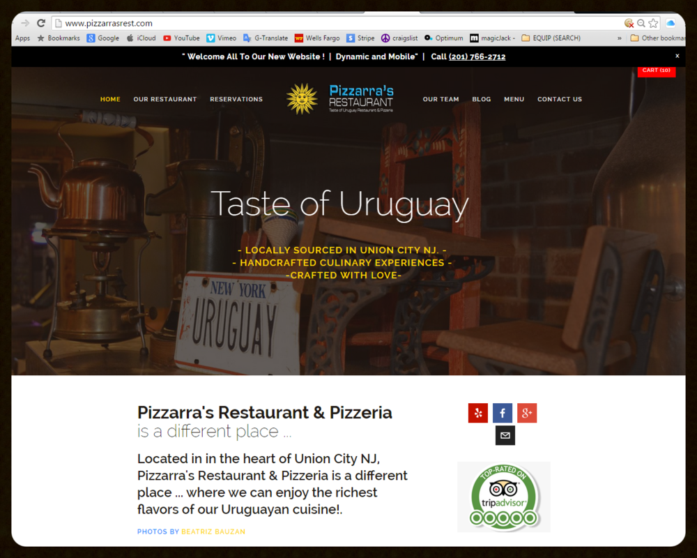STANDARD WEBSITE Restaurant Web with Capacity Shop Online Order Website Web - Film - Video - Photo - Social Media Blog www.Pizzarrasrest.com