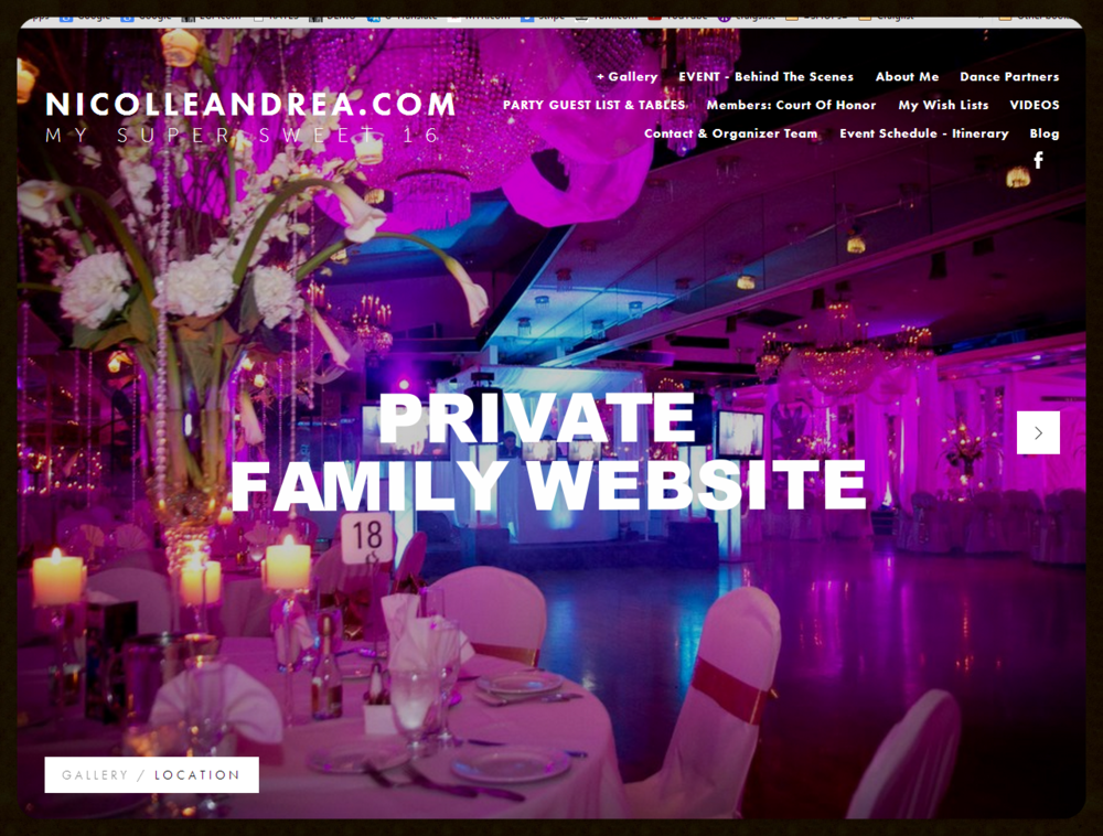 STANDARD WEBSITE                                     PRIVATE WEB    Sweet 16 & Special Event ((( PRIVATE   Website )))   Web - Film - Video - Photo - Social Media     www.NicolleAndrea.com