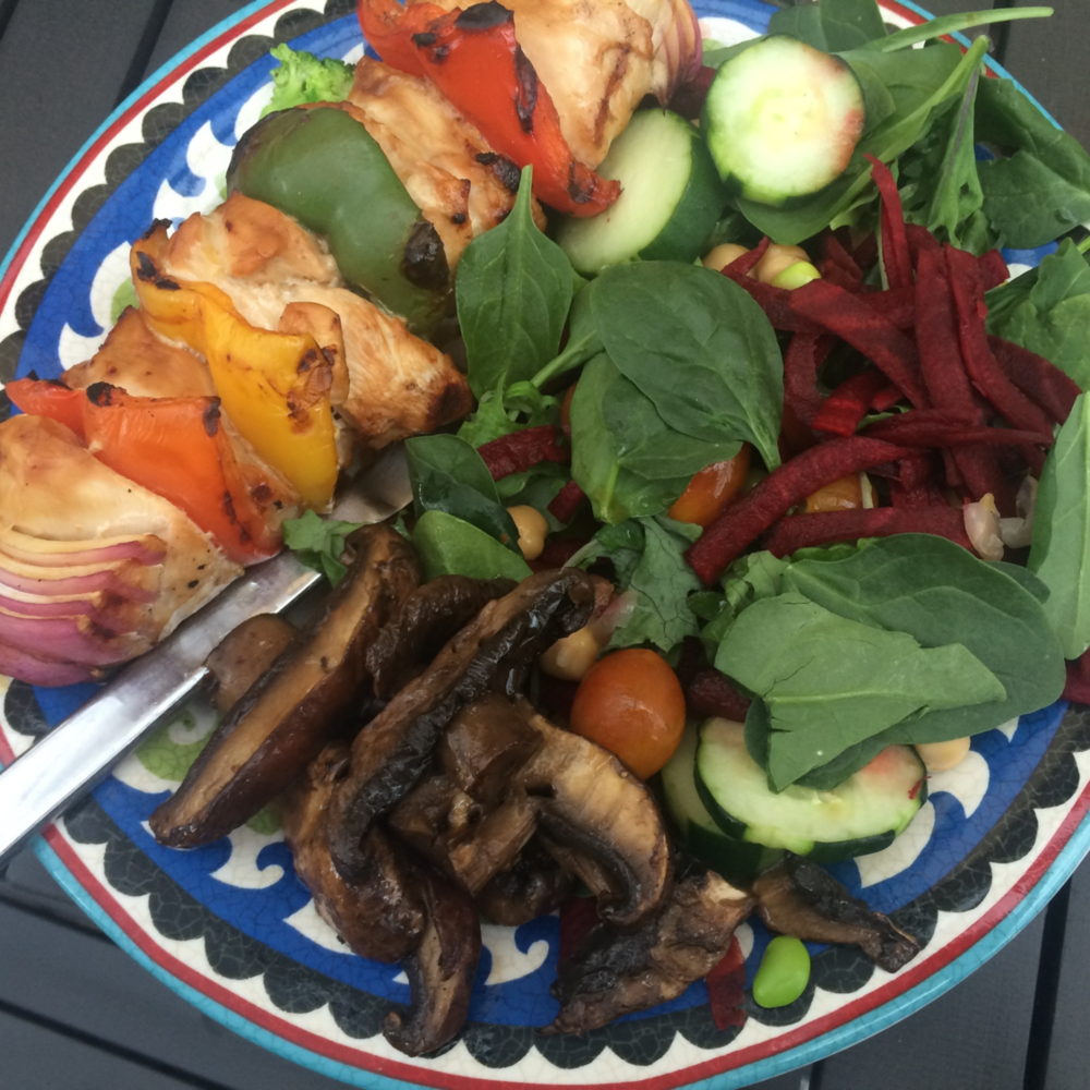 Dinner - chicken kabob with salad and grilled mushrooms