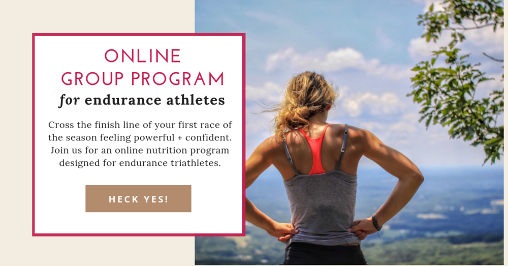 Enrolling Now!  Online group program for endurance athletes taking you from plate to finish! Includes one individual consultation with Kirsten Miller.  Additional 30 minute session with Kirsten for enrolling before February 20th!