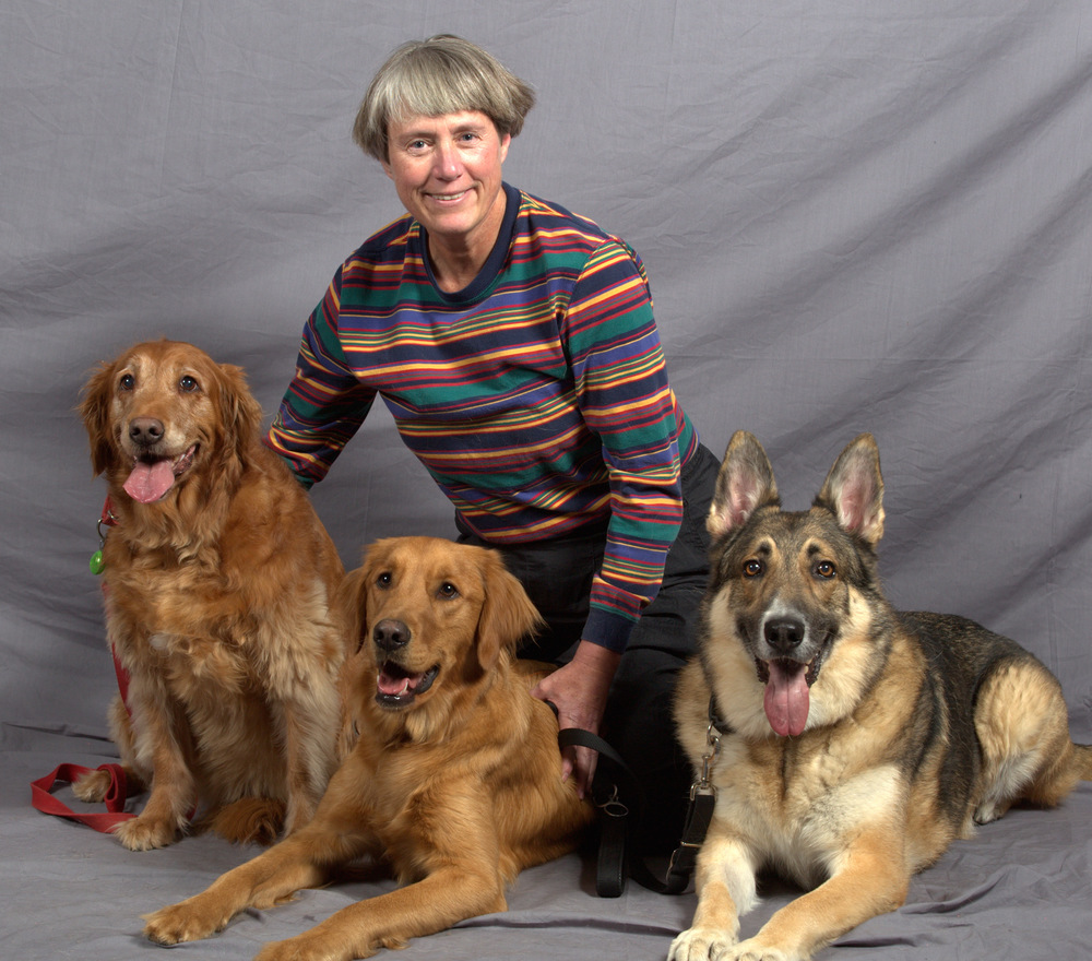 Ginger CampbeLL, host of the Brain Science Podcast (L>R: Greta, Rusty, & Jake)