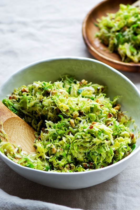 Shaved Brussels Sprouts with Pecorino + Walnuts — Pixels + Crumbs