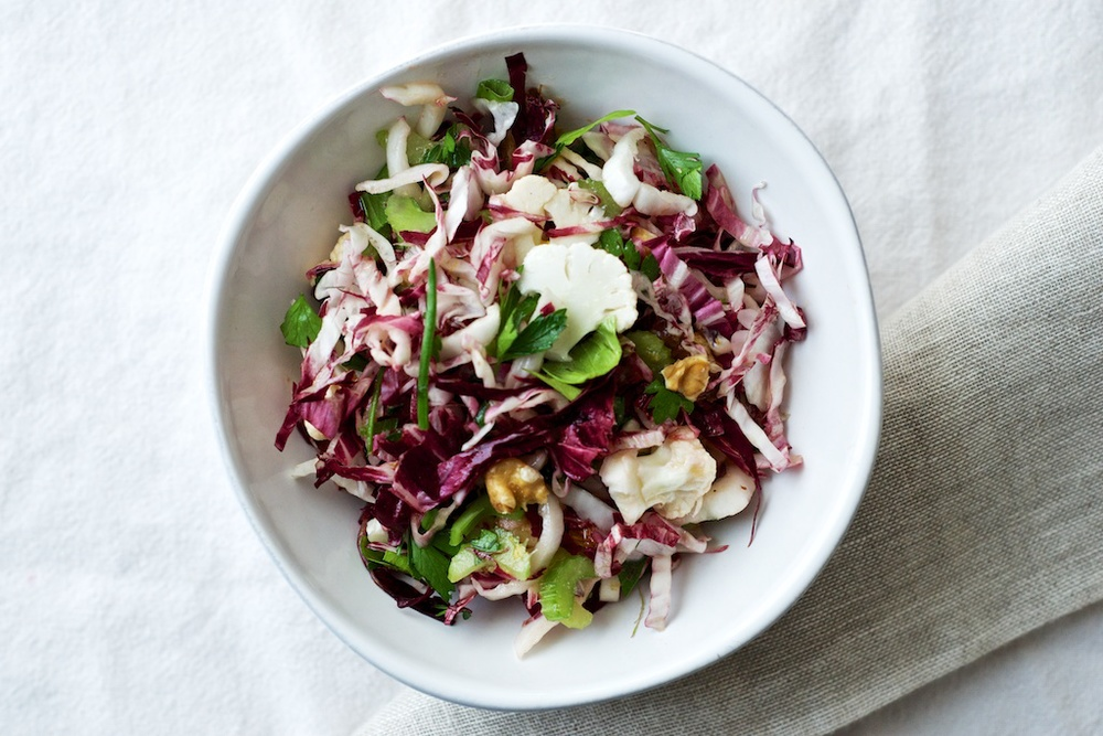 Shaved Cauliflower + Radicchio Salad — Pixels + Crumbs