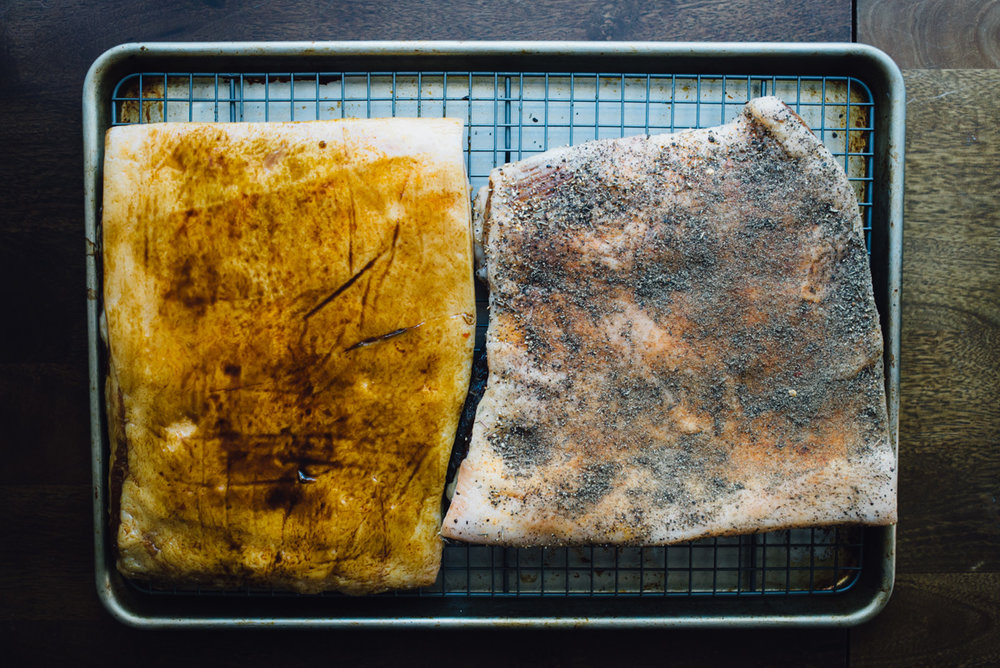After they dried for 24 hours we rubbed molasses on one and black pepper + thyme on another