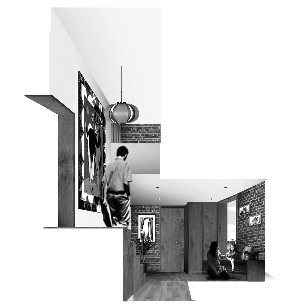 UNIT01: Duplex for a family.  The front door opens into a multipurpose space for storage, playing and lounging. Straight ahead leads to two large bedrooms, a large bathroom, storage areas and a balcony opening looking onto the street below. To the right is a stair which opens onto the living space via a half-landing. It continues to the upper level which contains the kitchen/breakfast room, balcony, utility room, large bedroom / playroom, bathroom and study which looks down on the living space.
