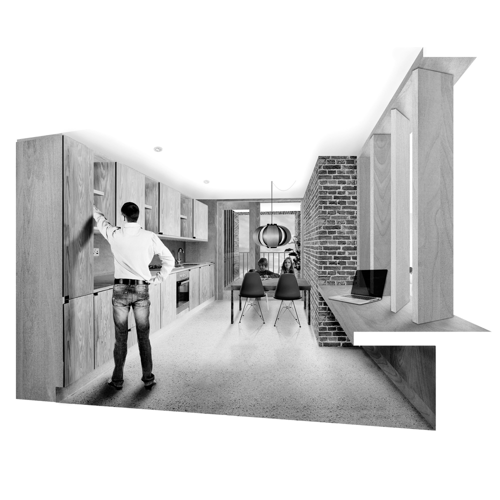 UNIT01: Kitchen with views down to the living space
