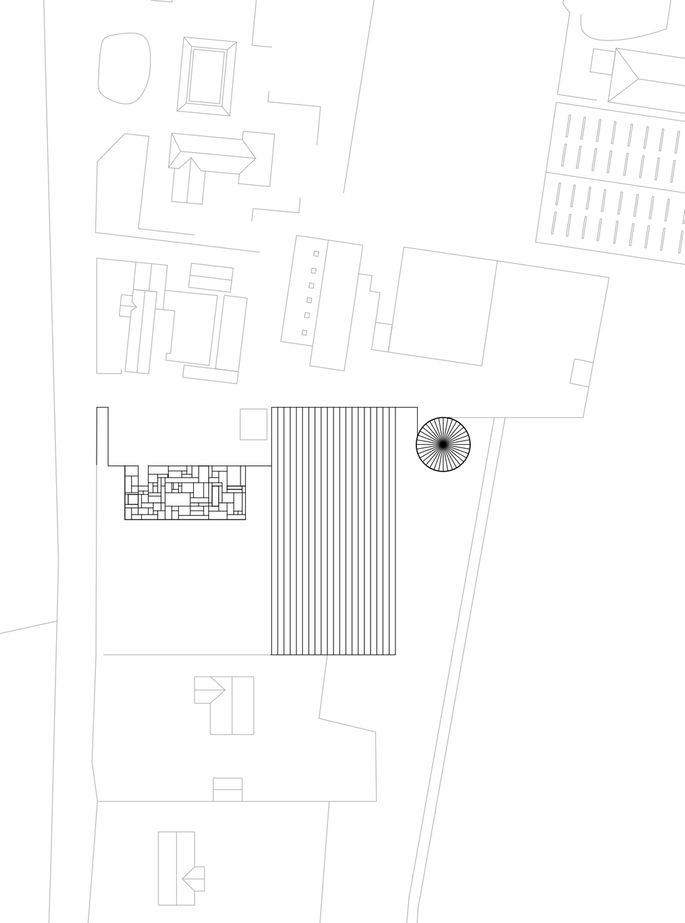 Site Plan: New Produce Exchange, Existing Greenhouses, New Housing & Watertower