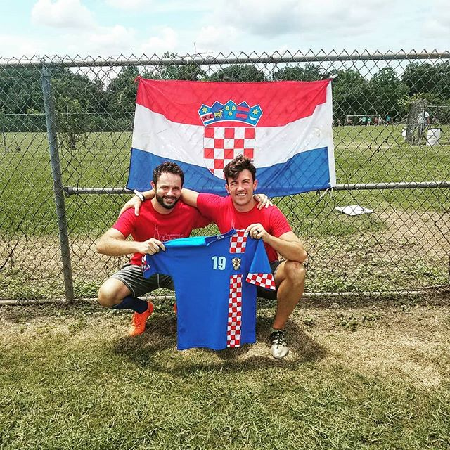 Miso (on the left), from the episode Miso's Brother, in NOLA today supporting #croatia. Sorry brother ☹️⚽🇭🇷