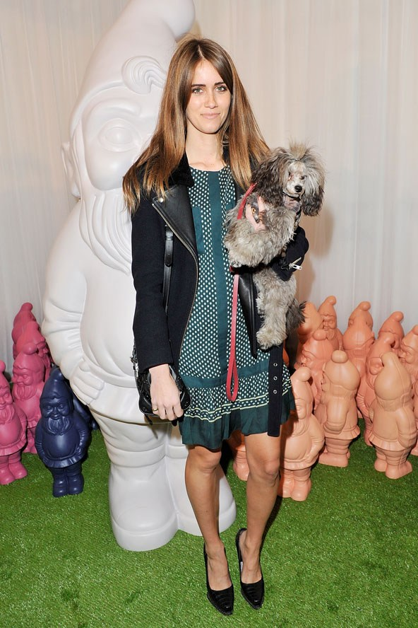 Whinnie Williams (a.k.a. Jade Williams a.k.a. Sunday Girl) with her miniature poodle, Brian, at London Fashion Week.