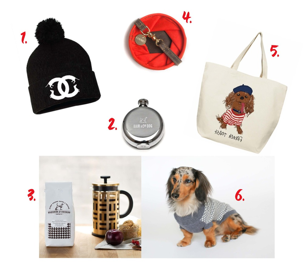 1) Doxie Beanie 2) Hair of the Dog Flask 3) Ground & Hounds Coffee 4) Collapsable Water Bowl 5) Toast Meets World Tote 6) Ruby Rufus Dog Sweater
