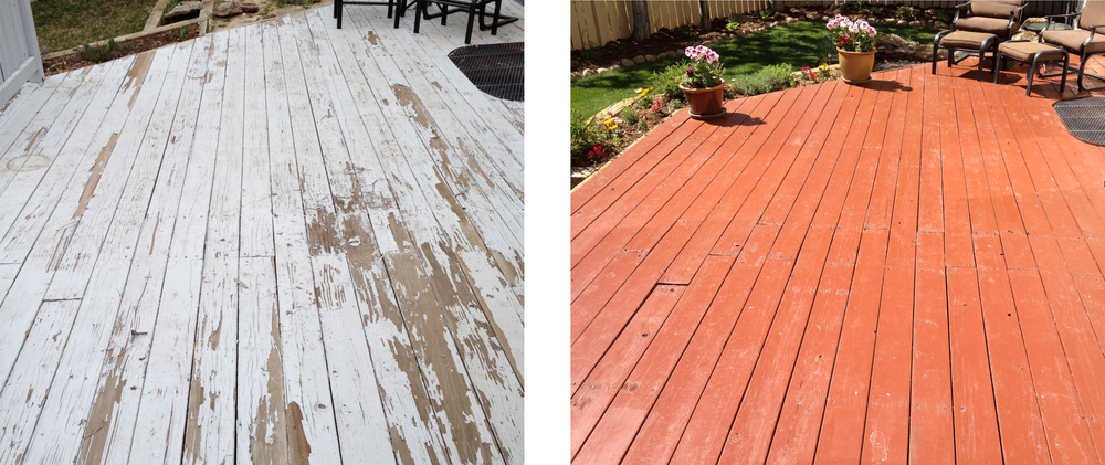 Other times, homeowners try to DIY a project and end up using thewrong product - in this example, exterior latex paint. In cases like this, it's necessary to completely strip and refinish the project.