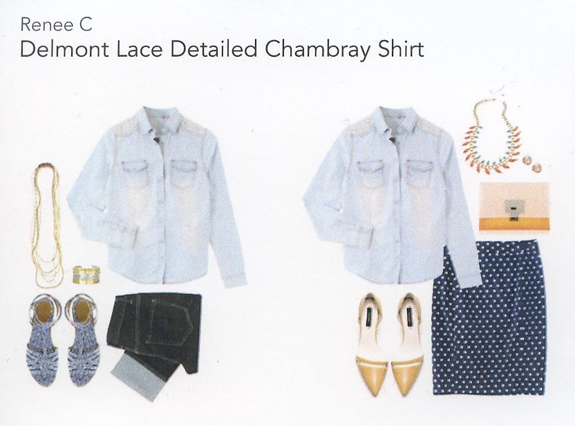 Stitch Fix Review 1- Delmont Lace Chambray Shirt
