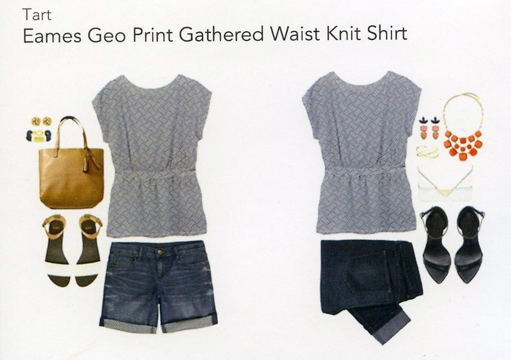 Stitch Fix- Eams Geo Print Gathered Waist Knit Shirt