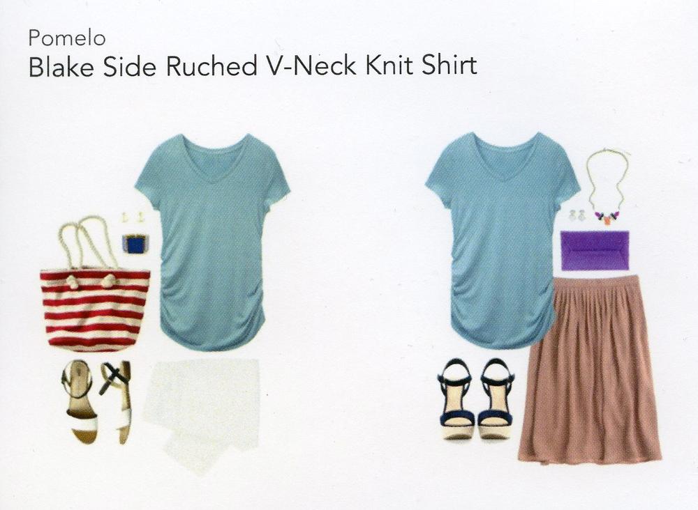 Stitch Fix- Blake Side Ruched V-Neck Shirt