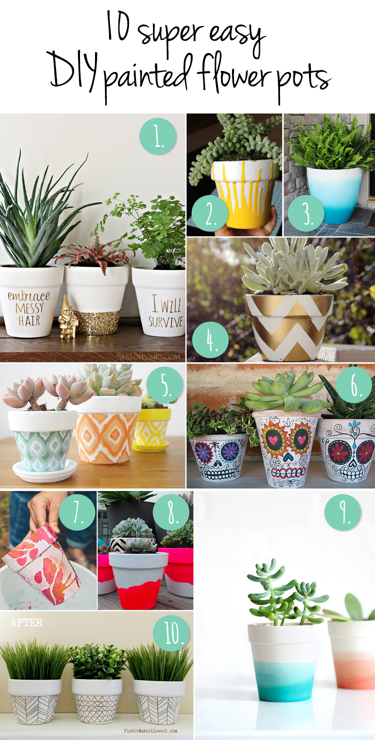 10 Super Easy DIY Painted Flower Pots