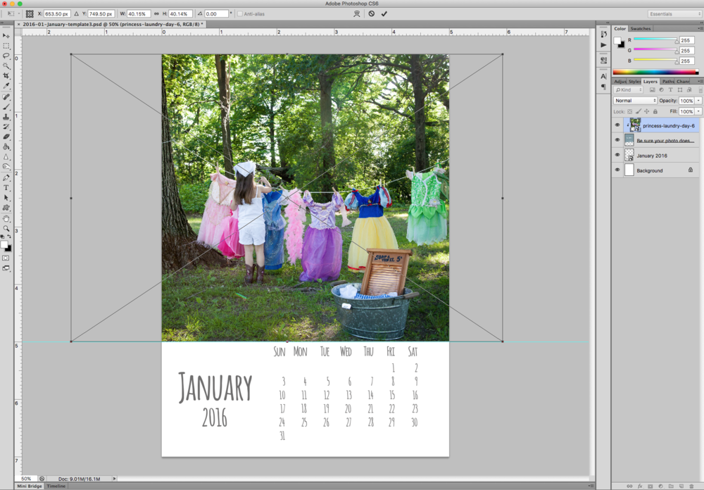 How to add photos to 2016 Calendar Template