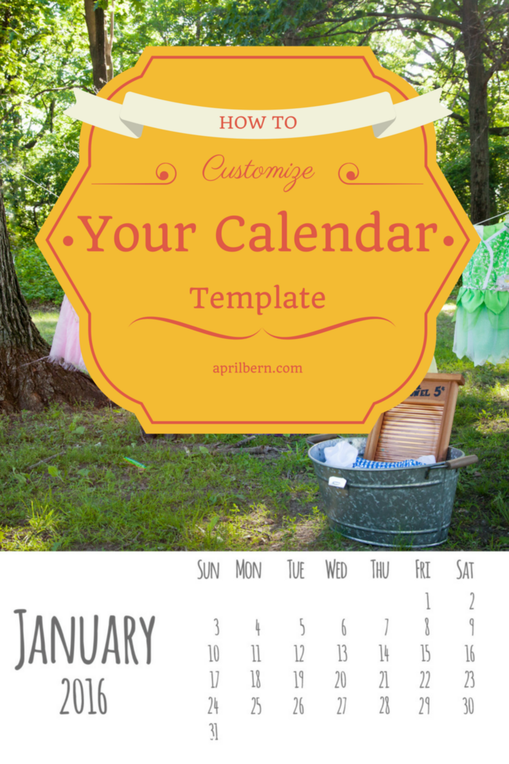2016 Calendar Template- How to add photos