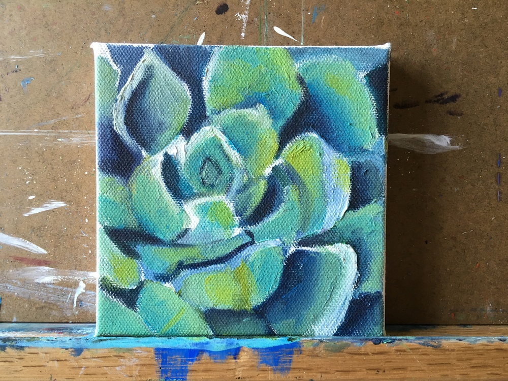 small succulent painting- work in progress