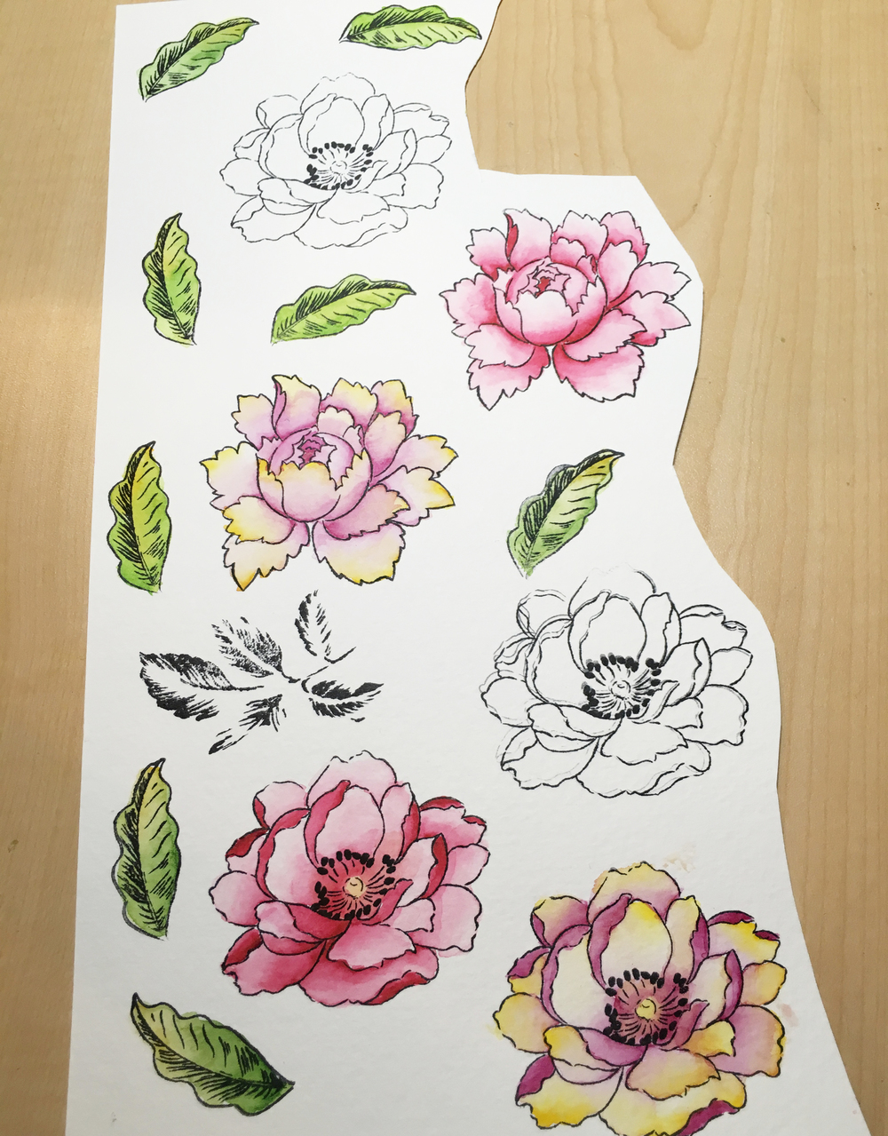 Watercolor in Progress- Watercolor painting the Altenew Peony Stamps