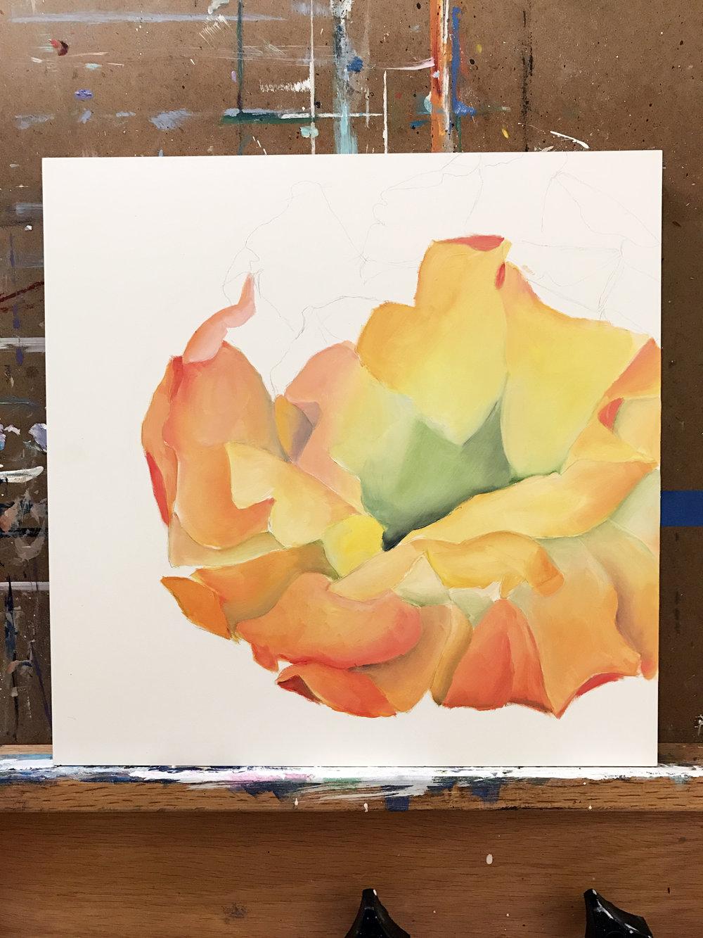 WIP Cactus flower painting