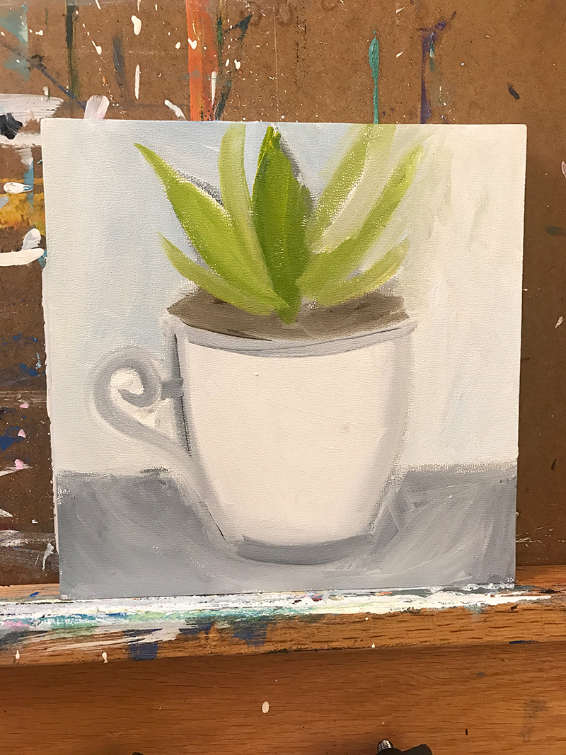 Teacup and Succulent Painting in Progress