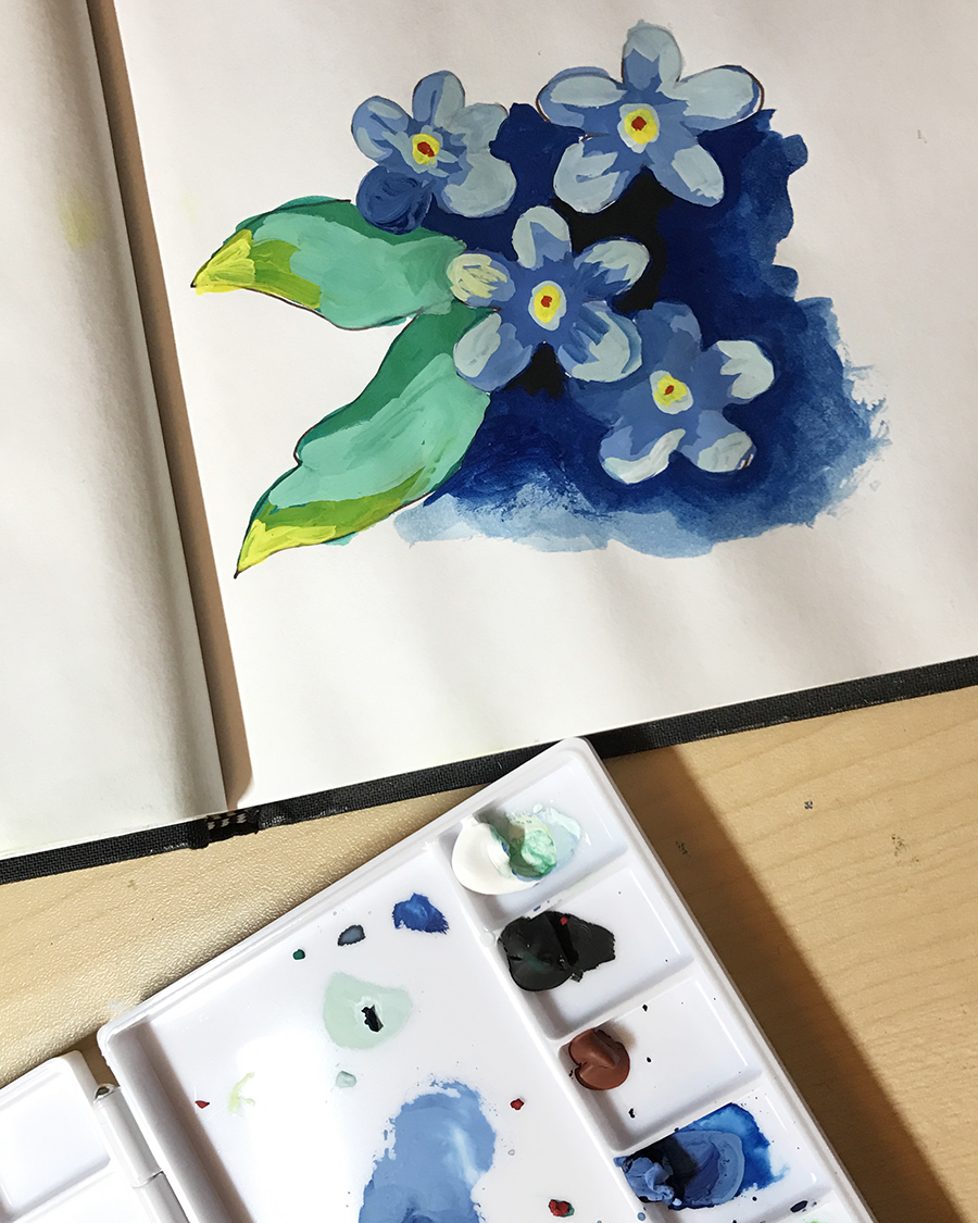 Experimenting with gouache paints