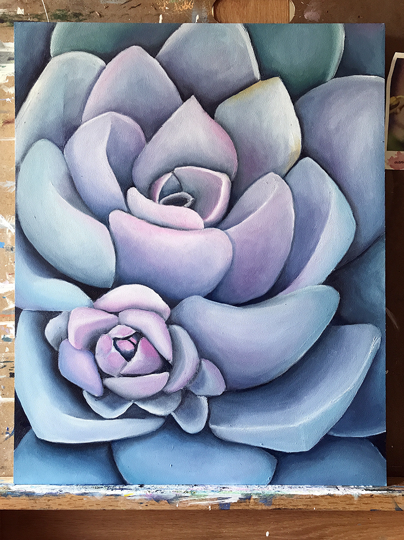 FINISHED! Large Succulent Oil Painting by april bern