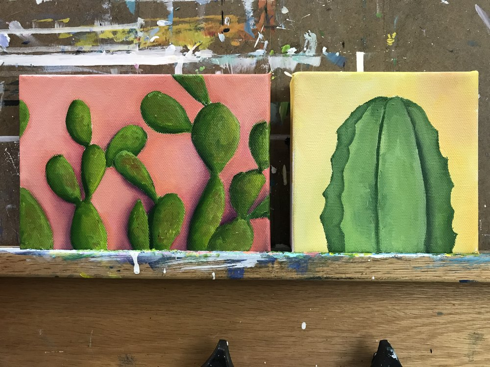 Almost finished Cacti paintings