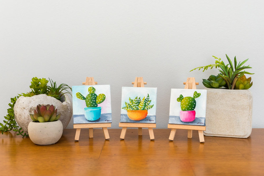 collection of tiny succulent and cacti paintings by april bern