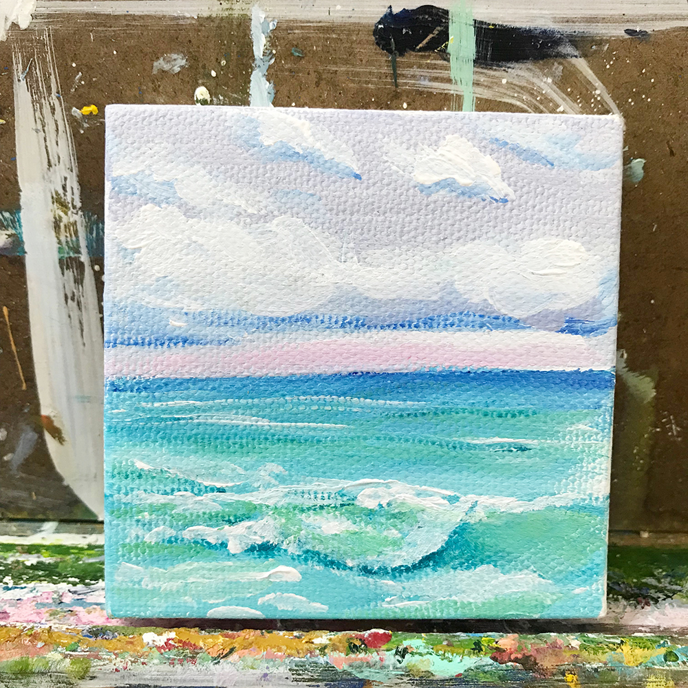 "61/100. 3""x3"" acrylic on canvas"