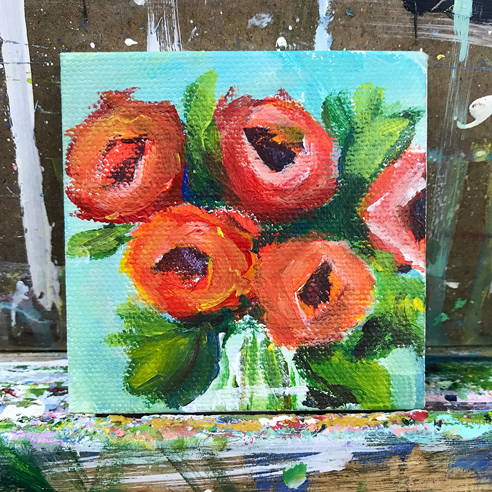 "60/100. 3""x3"" acrylic on canvas"