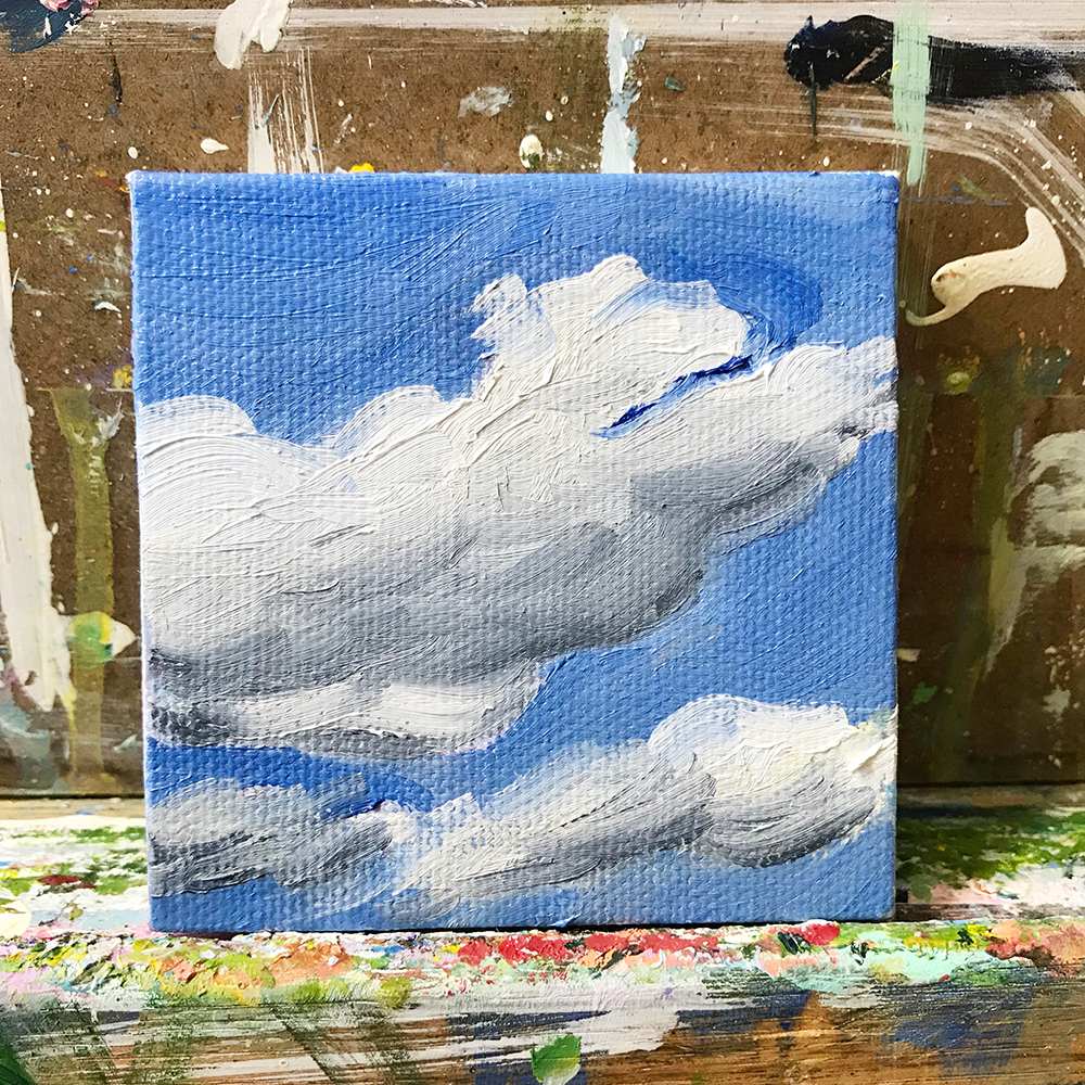"58/100. 3""x3"" oil on canvas"