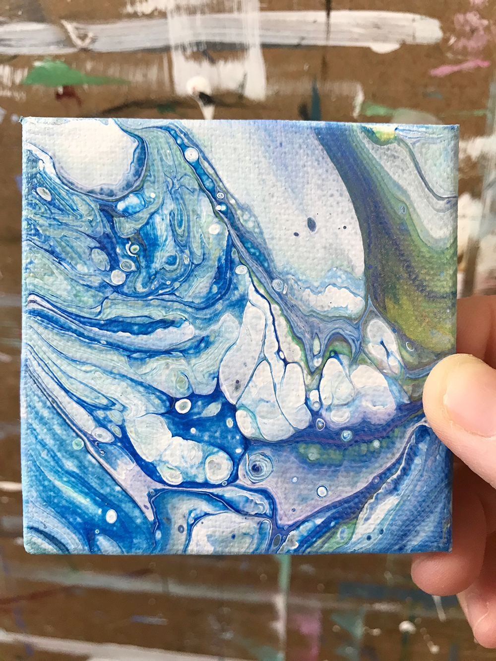 "62/100. The 100 Day Project. 3""x3"" Acrylic on canvas. Look at how tiny and cute this is!"