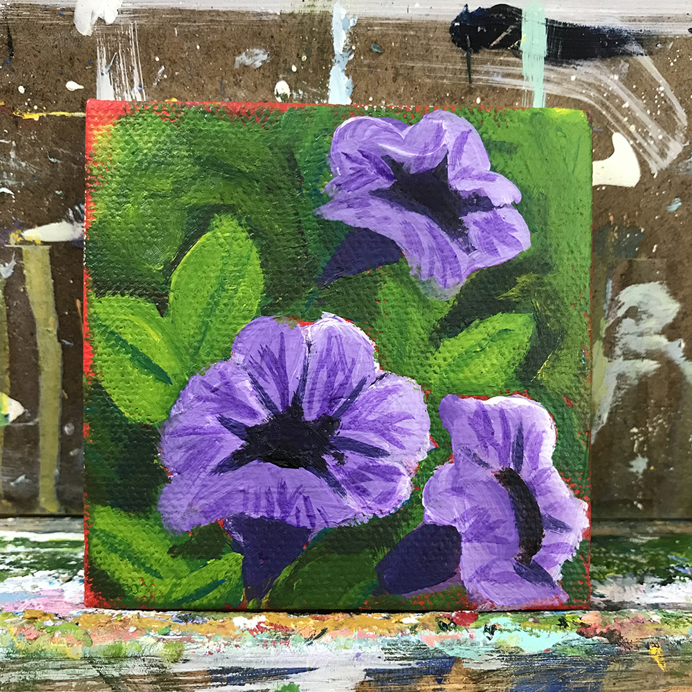 "64/100. 3""x3"" acrylic on canvas."