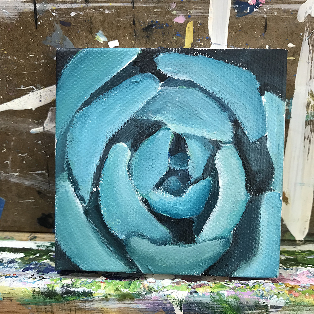 """69/100. 3""""x3"""" acrylic on canvas."""