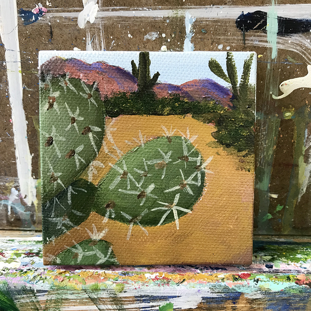 "76/100 3""x3"" acrylic painting. Saguaro National Forest, Tuscon AZ."