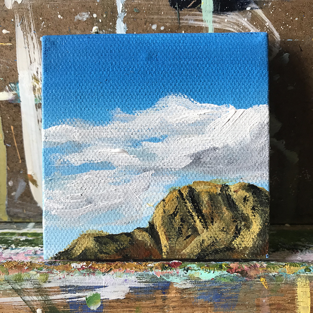"78/100 3""x3"" acrylic painting. Red Rock, Las Vegas"