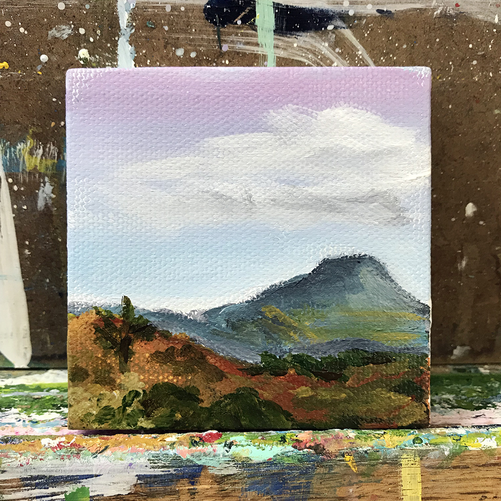 "80/100 - Cerro Pedernal. 3""x3"" acrylic on canvas."