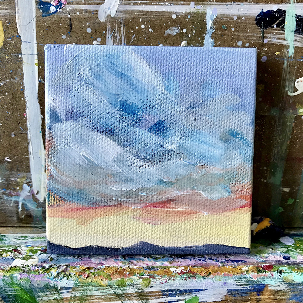 "81/100. Sunset. 3""x3"" acrylic on canvas."