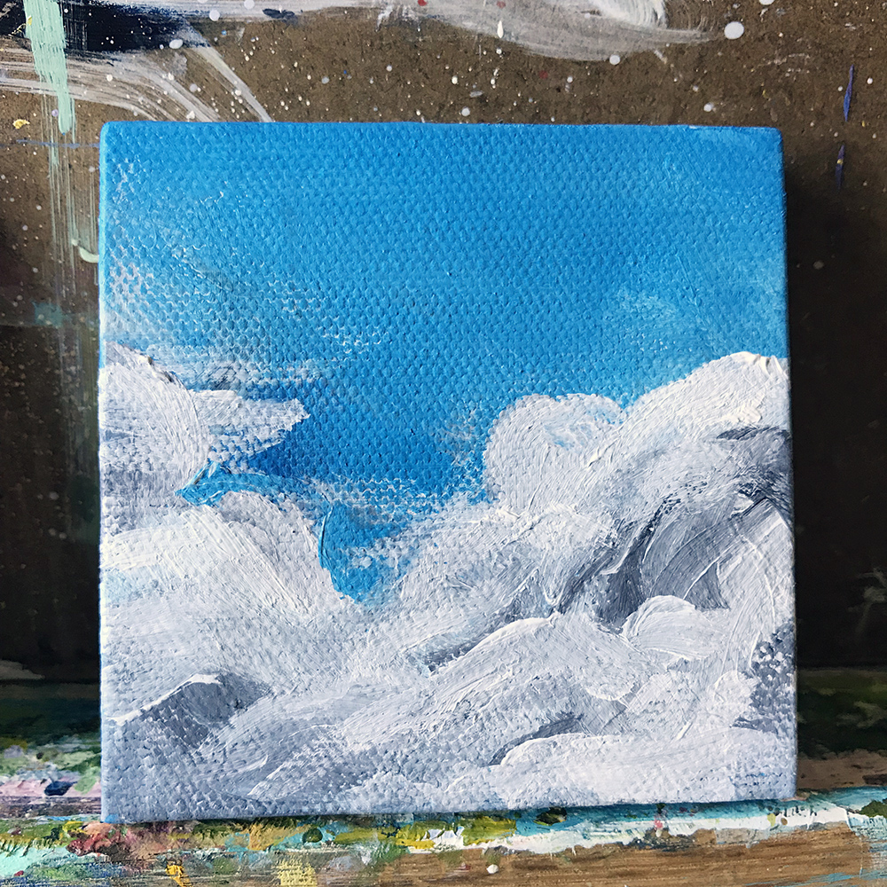 "82/100. Perfect Blue Sky. 3""x3"" acrylic on canvas."