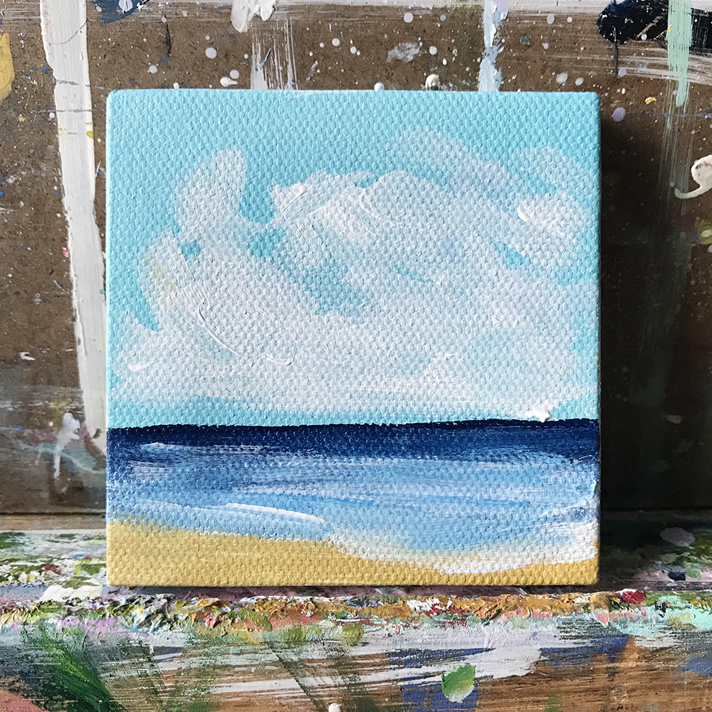 "84/100. Beachscape. 3""x3"" acrylic on canvas."