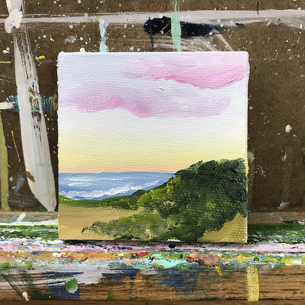 "88/100. Sunset. 3""x3"" acrylic on canvas."
