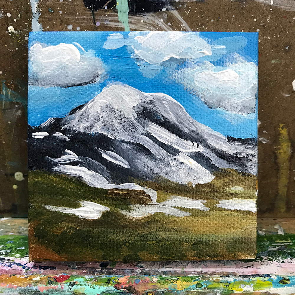 "92/100. Mt. Rainer, Washington State. 3""x3"" acrylic painting on canvas."