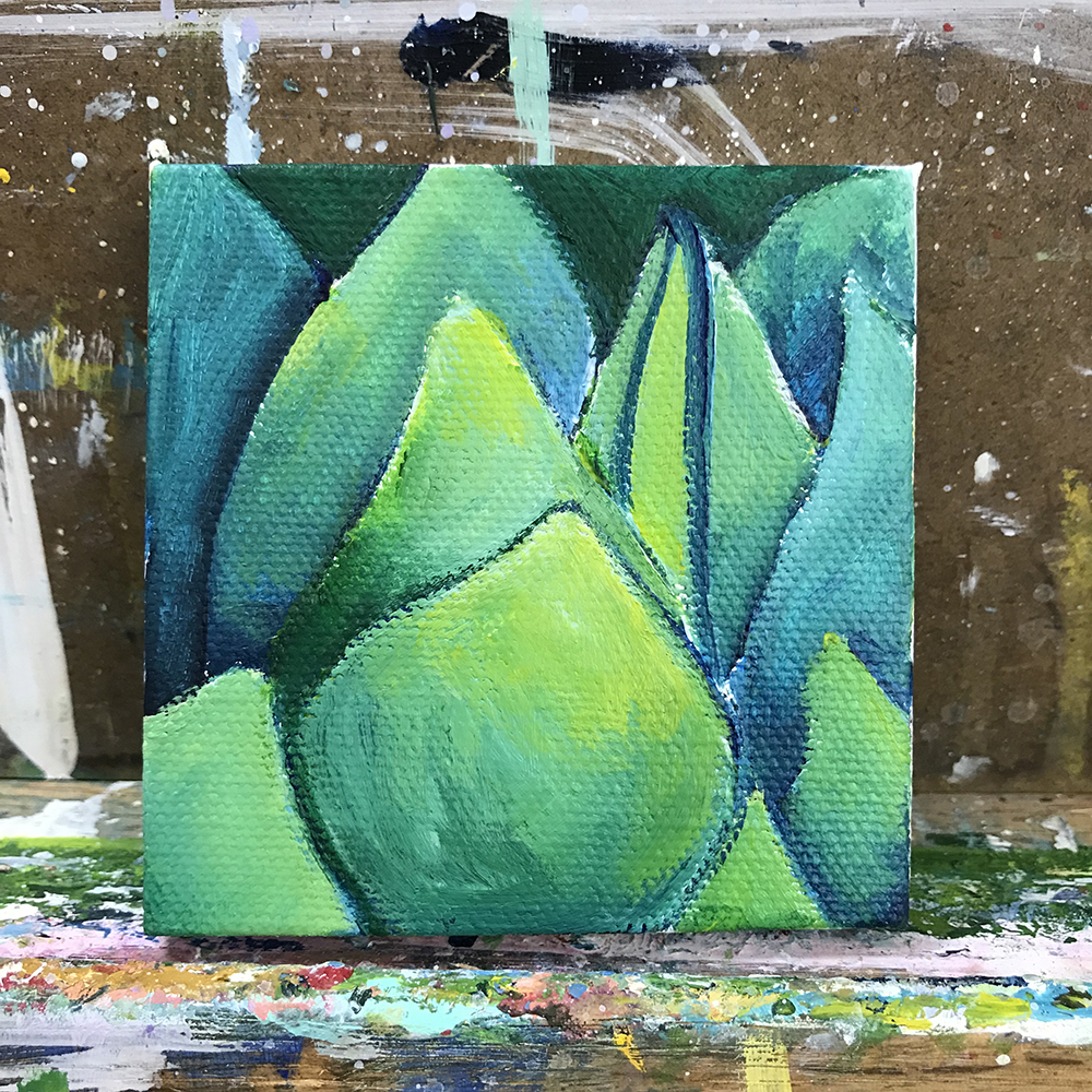 "96/100. Agave. 3""x3"" acrylic on canvas."